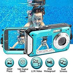 Appareil Photo Etanche 2.7K FHD 48MP sous Marin Caméscope Double écran méra Vidéo Numérique Camescope Vidéo Selfie 10 FT sous Marine Caméra étanche