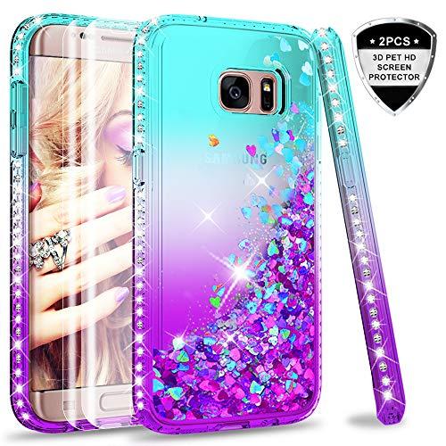 LeYi Hülle Galaxy S7 Edge Glitzer Handyhülle mit Full Cover 3D PET Schutzfolie(2 Stück),Diamond Rhinestone Bumper Schutzhülle für Case Samsung Galaxy S7 Edge Handy Hüllen ZX Gradient Turquoise Purple (Für 2 Case Handy Samsung)