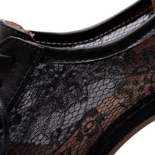 AllhqFashion Femme Pu Cuir à Talon Correct Rond Couleur Unie Lacet Chaussures Légeres Noir