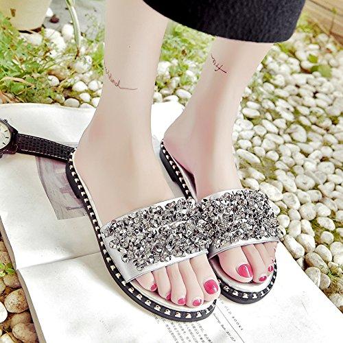 RUGAI-UE Pantofole donne a fondo piatto diamante Anti-Skid pantofole Moda Donna Cool pantofole Calzature Donna Silvery