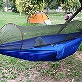 Hammock Moskitonetz - SUNNIOR Tragbare High Strength Parachute Stoff Hängematte Hängen Bett mit Moskitonetz für Outdoor-Camping-Reisen(blau)