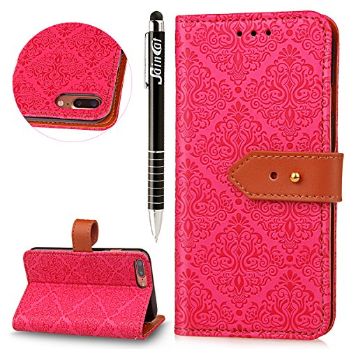 iPhone 7 Custodia,SainCat Custodia in Pelle per iPhone 7,Anti-Scratch Protettiva Caso Elegante Creativa Dipinto Pattern Design PU Leather Flip Ultra Slim Sottile Morbida Portafoglio Custodia Libro Pro Red Rose