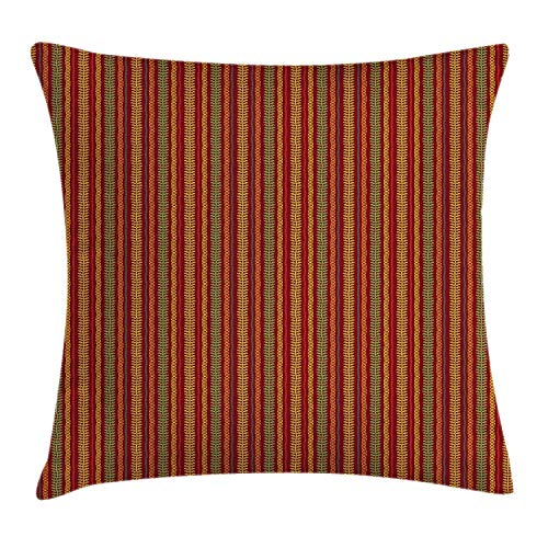 Nifdhkw Oriental Throw Kissen Cushion Cover, African Folklore Geometric Motif with Rhombuses and Lines Ornamental Floral Design, Decorative Square Accent Kissen Case, 20 X 30 Inches, Multicolor - Oriental Blend