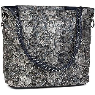 c4f259e5b54e4 styleBREAKER Handtaschen Set in Schlangenleder Optik mit Strass Applikation  im Sternenhimmel Design