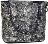 styleBREAKER Handtaschen Set in Schlangenleder Optik mit Strass Applikation im Sternenhimmel Design, 2 Taschen 02012013, Farbe:Schlange Grau-Blau/Dunkelblau