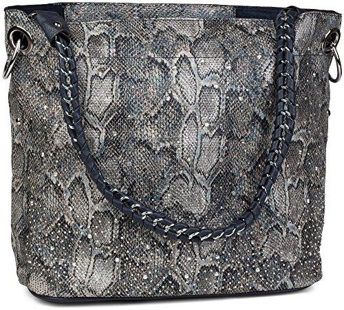 styleBREAKER Handtaschen Set in Schlangenleder Optik mit Strass Applikation im Sternenhimmel Design, 2 Taschen 02012013, Farbe:Schlange Grau-Blau / Dunkelblau (Grau Schlange)