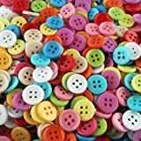 1000 kleinere, kunterbunt gemischte Vierloch Näh- und Bastelknöpfe aus Kunststoff - Durchmesser ca. 15 mm rund - Große Vorteilspackungen zum Nähen, Basteln und Dekorieren