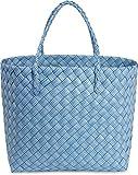 normani Robuster Kunststoff Einkaufskorb/Shopper/Strandkorb Geflochten aus Wasserdichtem Material Farbe Blue