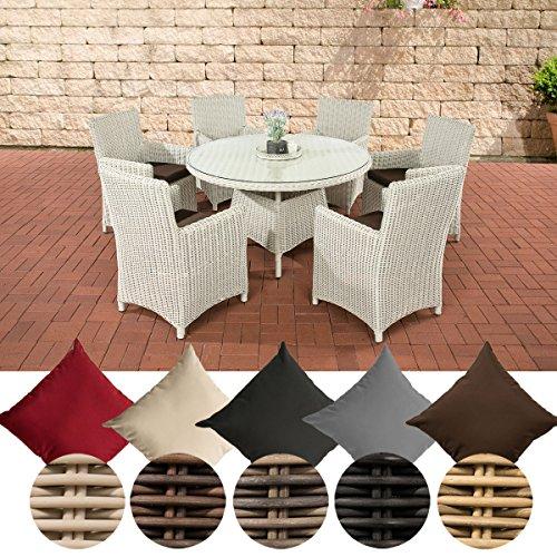 CLP Polyrattan-Sitzgruppe LARINO mit Polsterauflagen | Garten-Set bestehend aus einem Esstisch und sechs Gartenstühlen | In verschiedenen Farben erhältlich Bezugfarbe: Terrabraun, Rattan Farbe perlweiß