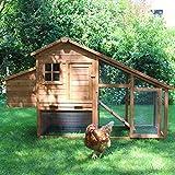 Zoo-XXL Hühnerhaus Hühnerstall Bertha ca. 190x65x113 cm für ca. 4-5 Hühner mit Freilauf mit Nistkasten für draußen