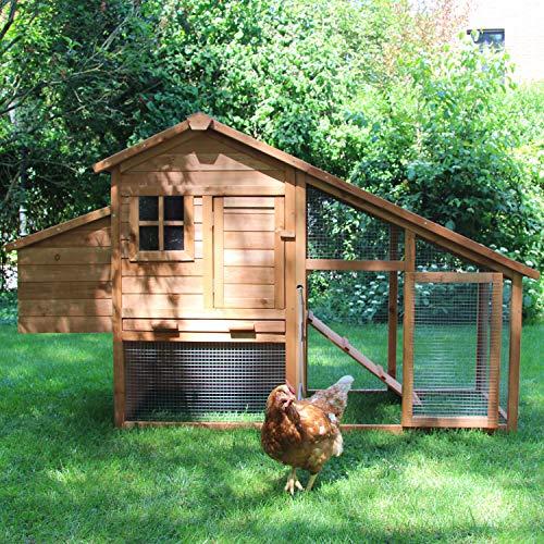 *zoo-xxl Hühnerhaus Hühnerstall Bertha ca. 190x65x113 cm mit Freilauf mit Nistkasten für draußen*