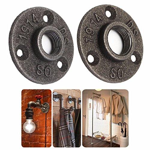 10pcs 3//4 Bridas de Hierro Fundido Para Tuber/ías de 3//4 Pulgadas Met/álica Decoraci/ón Estilo Industrial Vintage