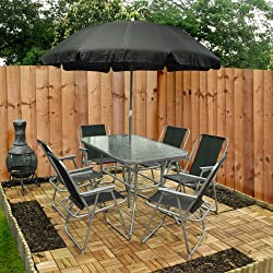 8 Piece Garden Furniture Patio Set inc. 6 x Chairs, Table and Parasol