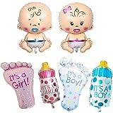Nobranded 6 Pezzi Baby Palloncino Foil, Ciuccio, Biberon, Piedi, Apertura a Palloncino Sigillata Automaticamente, per La Nasc