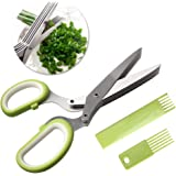nuoshen Kitchen Scissor, High Quality Herb Scissors 5 Blades Stainless Steel Great Kitchen Gadgets with Cover