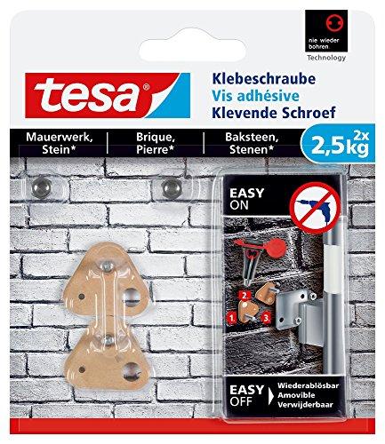 tesa 77901 - Pack de 2 Vis adhésives spécial Brique 2,5kg - triangulaires