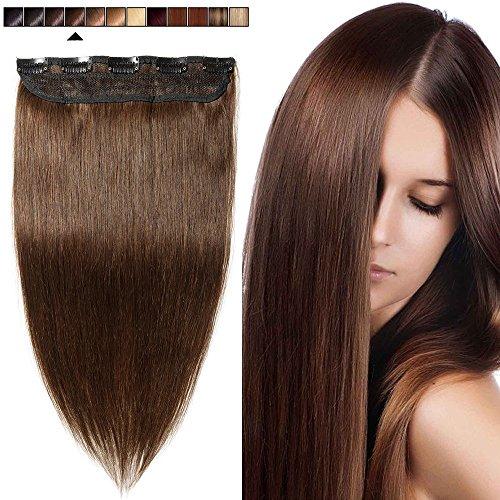 Clip in extensions echthaar Haarverlängerung 100% Remy Echthaar - 1 Stück (40cm-45g #4 mittelbraun)