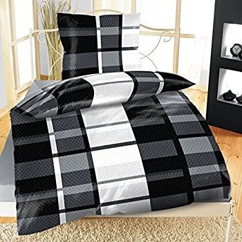 2tlg mikrofaser bettw sche s nnich schwarz wei grau 135x200 k che haushalt. Black Bedroom Furniture Sets. Home Design Ideas