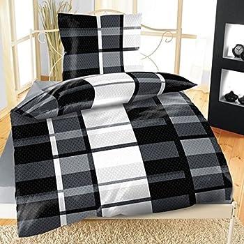 2tlg mikrofaser bettw sche s nnich schwarz wei grau 135x200 k che haushalt. Black Bedroom Furniture Sets. Home Design Ideas