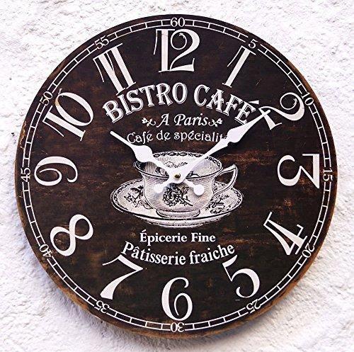 Uhr Wanduhr schwarz braun weiß Retro Kaffee