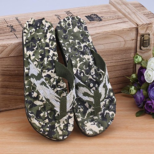 HCFKJ Hommes Summer Camouflage Tongs Chaussures Sandales Pantoufles IntéRieures Et ExtéRieures Vert