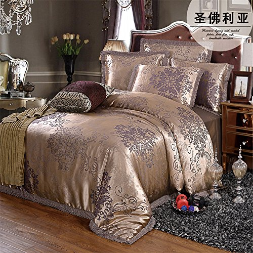GAW Hogar Moda 100% algodón satén Jacquard 4-piece Set de ropa de cama, edredón king/rey de California,Funda nórdica(220cm x 240cm*1),Hoja(260cm x 245cm*1),Funda de almohada(48*74cm*2)