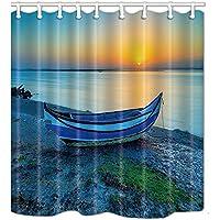 KOTOM cortinas de ducha náuticas para el baño, un barco en la playa del océano en la puesta del sol cortinas de baño de tela de poliéster a prueba de agua ...