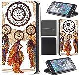 Samsung Galaxy S4 Mini Hülle von CoverHeld Premium Flipcover Schutzhülle Flip Case Motiv (1477 Traumfänger Dreamcatcher Braun Bunt)