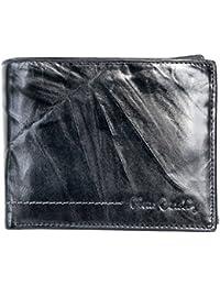 Cartera de cuero genuino de color negro oscuro Pierre Cardin