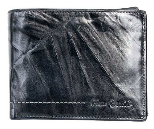 Schwarz Starke Glänzend Beschichtete Echtleder Brieftasche Pierre Cardin