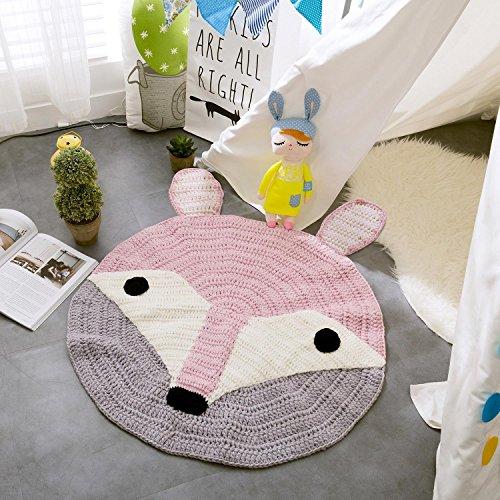 Auf Einem Acryl-teppich (SHIQUNC Reine handgewebt Teppich 100% Acryl Runde rutschfest Matten Decke kriechen Zimmerdekoration Bewerben auf Schlafzimmer Kinderzimmer 80 * 80cm, Fox)