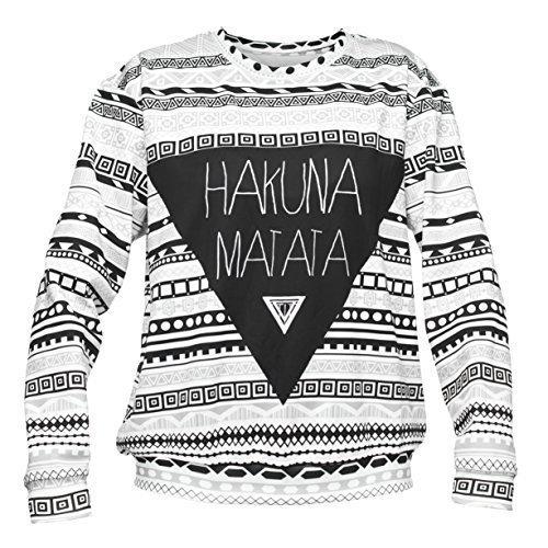 Full Allover print Hakuna Matata Sweater maglione sweat-shirt over argento-nero