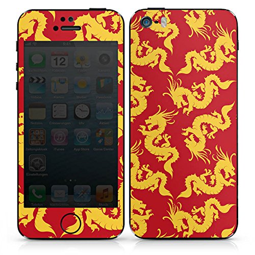 Apple iPhone SE Case Skin Sticker aus Vinyl-Folie Aufkleber Muster Gold China Drache DesignSkins® glänzend
