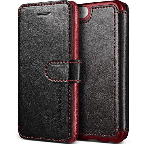 Coque iPhone SE/5S/5, VRS Design [Layered Dandy][Rouge] - [Fentes pour Cartes Housse Cover][Étui portefeuille à rabat en cuir PU][Protection Case]- pour Apple iPhone 5/5S/SE Marron Foncé