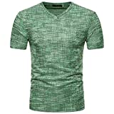 OSYARD Herren Sommer Bluse,Männer Kurzarm Casual Tops V-Ausschnitt Pullover T-Shirt Lässige Reine Farbe Schwarz Kaffee Grün Größe S-2XL, Basic Shirt Oversize Vintage Sweatshirt