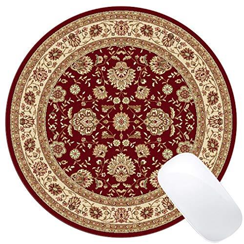 Muccum Runde Mauspad, Vintage, orientalisch, persisch, florales Design, Rot -