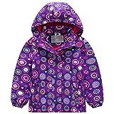 Mädchen Wasserdicht Jacke Übergangsjacke Regenjacke mit Fleecefütterung Kinder Blume Warm Winddicht Atmungsaktiv Wanderjacke Outdoorjacke