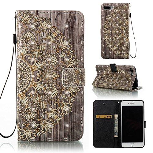 Ooboom® iPhone 5SE Coque 3D PU Cuir Flip Housse Étui Cover Wallet Case avec Supporter Fermeture Aimantée pour iPhone 5SE - Smile Totem Fleur Or