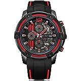 MEGIR Men's Silicone Sports Quartz Watches Waterproof Chronograph Army Wristwatch for Man