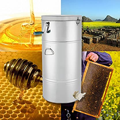 BuoQua 73cm Honey Extractor Manual Smelator for 2 Honeycomb Extractor Stainless Steel Four Beekeeping Frames 2