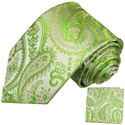 Cravate homme vert paisley ensemble de cravate 2 Pièces ( longueur 165cm )