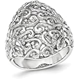 Sterling Silver Polished Filigree Ring - Ring Size Options Range: L to P