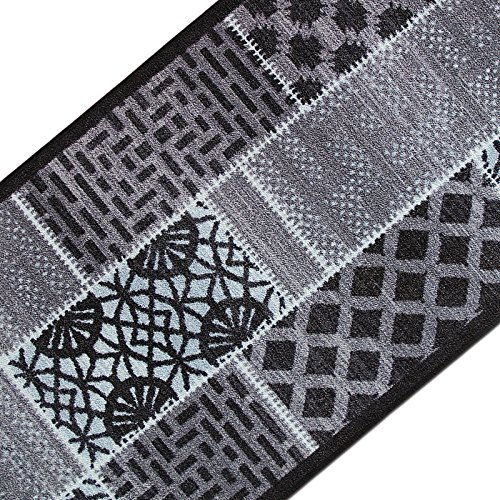 casa pura Teppichläufer mit modernem Muster in brillianten Farben | hochwertige Meterware, gekettelt | Kurzflor Teppich Läufer | Küchenläufer, Flurläufer (80x500 cm)