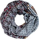 Lirii Designer Loop Schal Schlaufenschal mit Sterne und Totenköpfe Farbe Grau