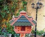 BTV Batovi Vogelhaus/garten vogelhäuser, aus Holz behandelt Futterhaus mit GRÜN + GRAU blau BG60g-bGOS
