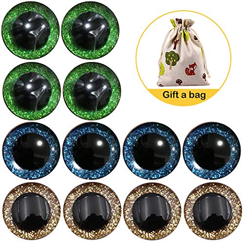 KOOSUFA Sicherheitsaugen Glitzer Bunt Augen Teddy Puppenaugen Kunststoffaugen Puppe Augen Teddyaugen Mit Unterlegscheiben 9mm 12mm 14mm 16mm 18mm 20mm 25mm (Gold+grün+blau, (12 Augen/ 6 Paar) 20 mm)