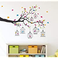 Amazon Brand - Solimo PVC Vinyl Wall Sticker for Living Room (Birdie House, Ideal Size on Wall - 133 cm x 90 cm…