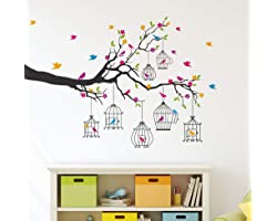 Amazon Brand - Solimo PVC Vinyl Wall Sticker for Living Room (Birdie House, Ideal Size on Wall - 133 cm x 90 cm), Multicolour