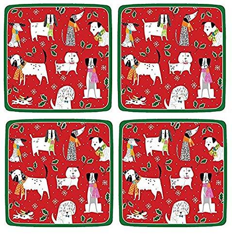 Entertaining with Caspari 14130SP Christmas Canines Assiettes carrées en papier Rouge 4-(Pack)