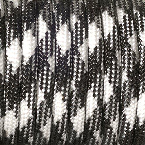 Paracord 4 mm x 50 m de couleur Noir/blanc